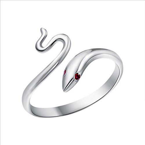 Bobury Donne Argento Placcato l'anello di barretta di Apertura Bright Red Eye Serpente dell'anello