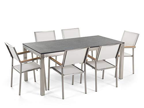Beliani Gartentisch aus Steingemisch schwarz geflammt 6 Stühle in Weiß 180 cm Grosseto