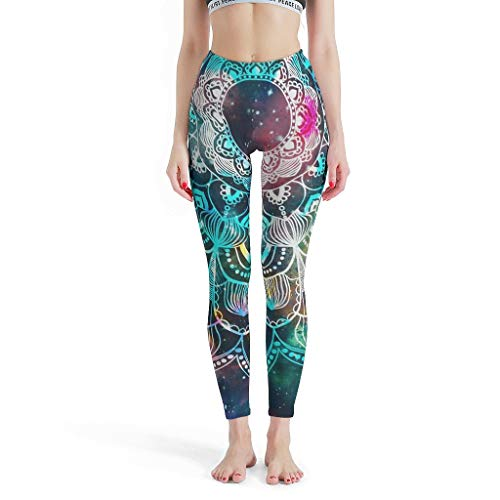 XJJ88 Yogahose für Damen, Mandala, Pilates, Kleidung, Psychedelic Galaxy Mandala Patten Druck Capri Workout Strumpfhose, weiche Leggings für Frauen S weiß