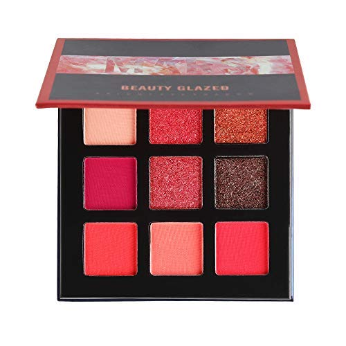 Beauty Glazed 9 Farben Schimmer Matt Lidschatten Palette, Stark Pigmentierte Lidschatten Palette...