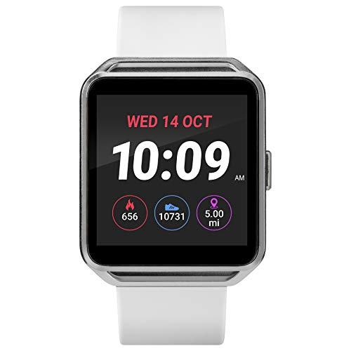 iConnect By Timex Classic Square Smartwatch with Heart Rate & Two-Way Bluetooth Calling 40mm – Silver-Tone with White Strap