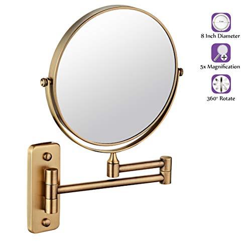 Spiegel met wandmontage, voor het opmaken en scheren, badkamerspiegel met vergroting, 1 x / 5 x dubbelzijdig, 8 inch (20,3 cm), wandmontage, make-upspiegel, 360 graden draaibaar, zilverkleurig.