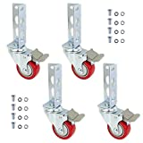 4pc - Storage Rack Caster Wheels (Adapts to Boltless Self Locking Shelving Racks) (3' (500 Max Total Capacity))