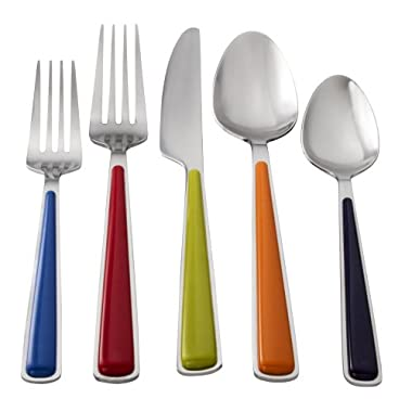 Fiesta 20-Piece Merengue Flatware Silverware Set, Service for 4, Stainless Steel/ABS, Includes Forks/Knives/Spoons, Multi