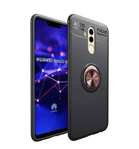 Capa para Huawei Mate 20 Lite com suporte de anel de metal e capa traseira de TPU ultrafina com capa preta rosa