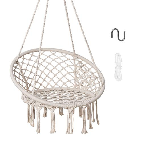 SUNCREAT Hammock Chair Macrame Swing with Side Pocket, Hanging Cotton Rope Hammock Swing Chair for Indoor and Outdoor Use, 330 lbs Capacity, Beige
