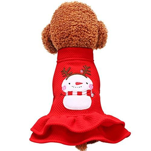 YABAISHI Hond Kleding Huisdier Kleding Kat Leuke Sneeuwman Jurk, L, Zoals getoond