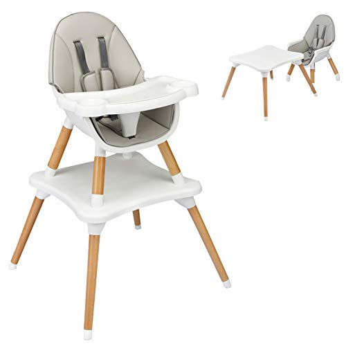 HONEY JOY Baby High Chair, 4-in-1 Convertible Wooden Highchair for Babies and Toddlers/Table and Chair Set/Booster Seat/Toddler Chair with Safety...