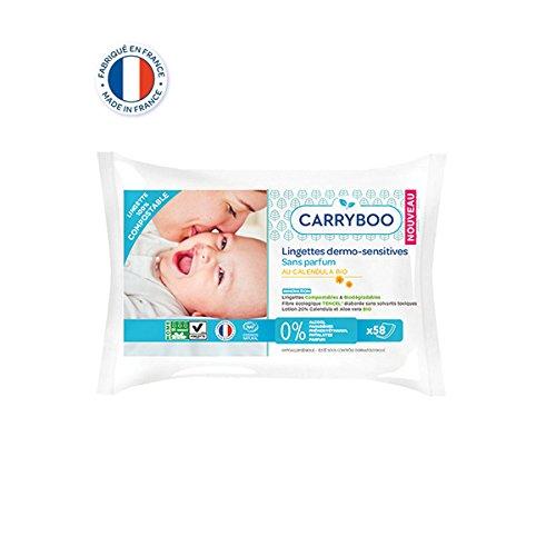 CARRYBOO - Paquete de 58 toallitas para bebé compostables con caléndula orgánica