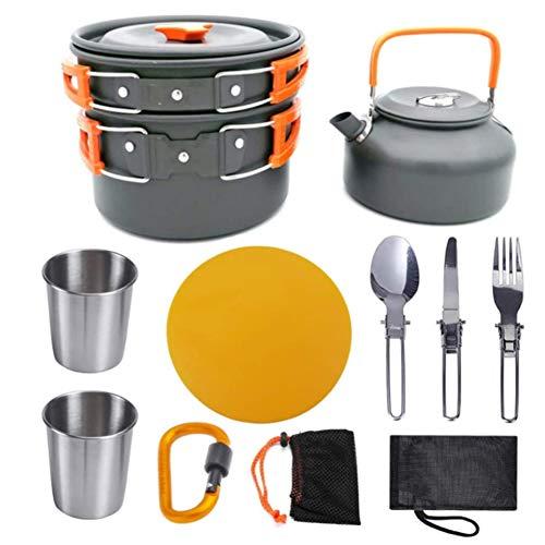 YLLQXI Juego de Utensilios de Cocina Portátil Al Aire Libre, Ultraligero Camping Utensilios de Cocina al Aire Libre Kit, Juego de Utensilios de Cocina, para 2 o 3 Personas