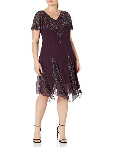 J Kara Women's Plus Size Short Beaded Dress, Wine/Mercury, 14W (Apparel)