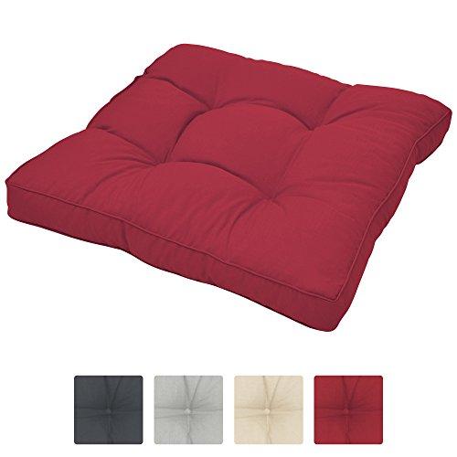 Beautissu Loungekissen XLuna Sitzkissen für Rattanmöbel Gartenmöbel Lounge Dickes Polster 50x50x10 cm in Rot in verschiedenen Größen und Farben
