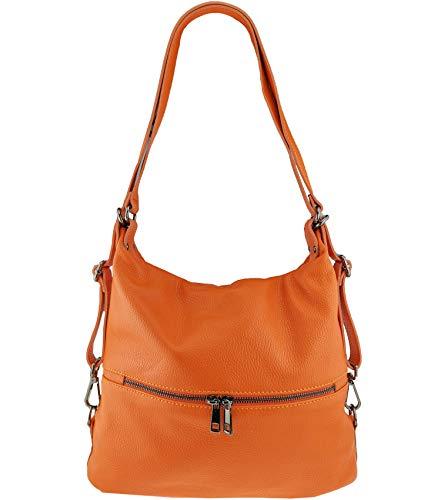 Freyday 2in1 Rucksackhandtasche Designer Damen Handtasche Henkeltasche 100% Echtleder (Orange)