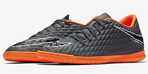 Nike Herren Fußball Hallenschuhe Hypervenom Phantom X III Club IC AH7280 Grau, Größe:41 EU, Farbe:081 Dark Grey/TOTAL ORANGE - Grau