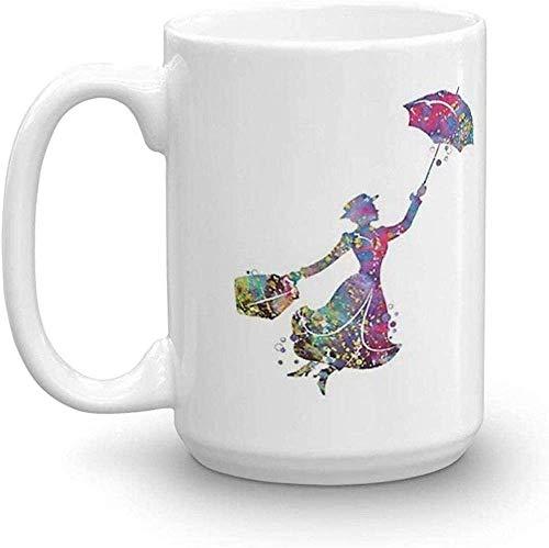 N\A Mary Poppins Taza clásica con asa en C y construcción única Taza de café Tazas