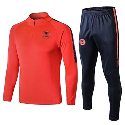 ZHWEI Traje Entrenamiento de fútbol Club de Adulto Camiseta de la Juventud de Manga Larga y Pantalones de Jogging BreathableTop QL0261 Traje Respirable (Color : Orange, Size : S)
