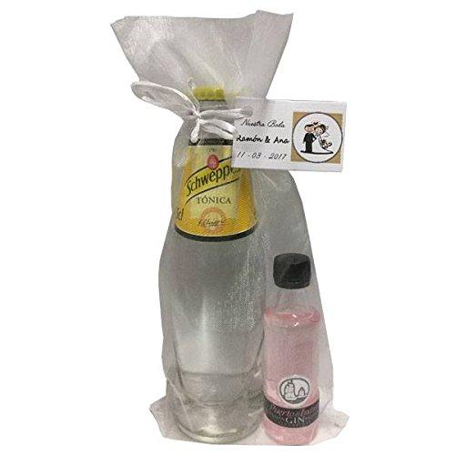 Pack de Puerto de Indias Strawberry y botella de Tónica Schweppes en bolsa de organza para invitados (Pack 24 ud)