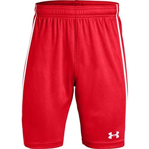 Under Armour Pantalones Cortos de fútbol para niño Maquina 2.0, Niños, Pantalones Cortos, 1328136, Rojo (600)/Blanco, L