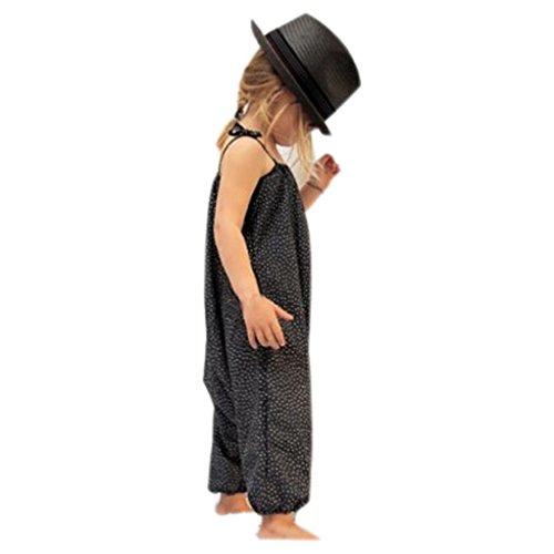 Kid Jumpsuits Strampler Kolylong® (2-7 Jahre alt) Baby Kind Mädchen Sommer Strap Spielanzug Overall Outfits Romper Jumpsuit Sommerkleidung (140CM (6 Jahre alt), Schwarz)