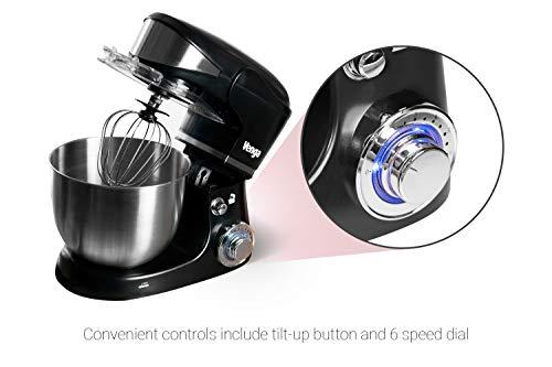 Venga! VG M 3014 Küchenmaschine mit Rührschüssel – 1000W Motor, Kunststoff, Edelstahl, 5L, Schwarz - 5