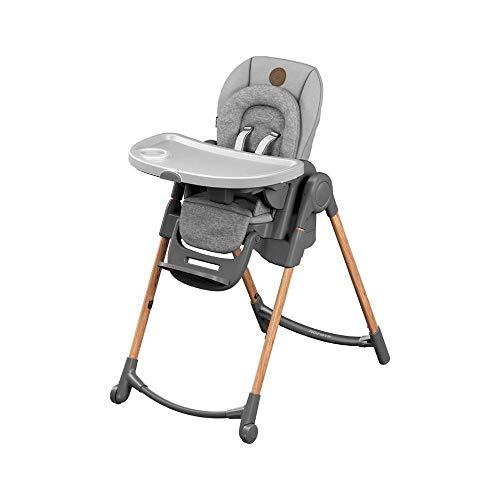 Maxi-Cosi Minla trona Evolutiva, reclinable y plegable, 6 en 1 trona convertible, silla para niños, trona portátil de viaje e Asiento Elevador, crece con el niño 0 meses - 7 años, essential grey