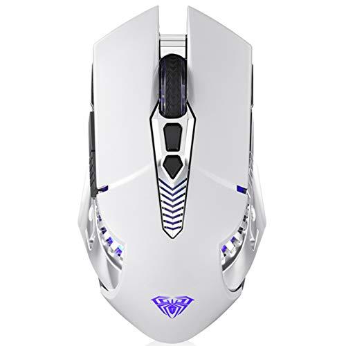 AULA SC200 Weiß Kabellos Bluetooth Gaming Maus, Eingebauter 800mAh Wiederaufladbarer Akku, PC Computer Mouse für Hause Büro, Spiele, Ergonomie Wireless Spiele Mäuse Mit RGB Atemlichteffekt (Weiß)