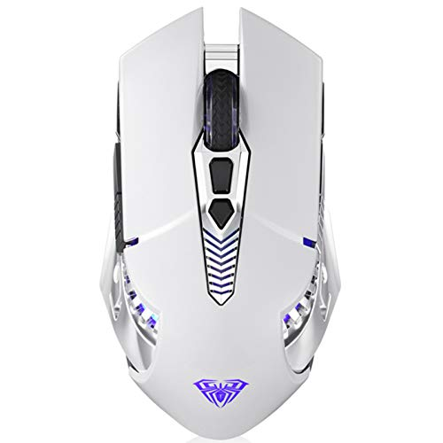 AULA SC200 White Wireless Gaming Mouse Rechargeable, with 800mAh Battery, Side Buttons, RGB Backlight, Ergonomic Optical Bluetooth Gaming Mice for PC, MAC Laptop, Notebook, Tablet, Smartphone (White)