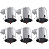 Sunco Lighting 6 Pack 6 Inch Remodel Housing, Air Tight IC Rated Aluminum Can, 120-277V, TP24 Connector Included for Easy Install - UL & Title 24 Compliant