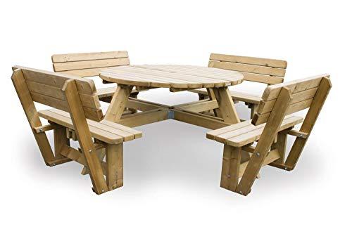 Picknicktisch rondo Luxus 140 cm (8 Personen) inklusive 4 Rückenlehnen, runder Picknicktisch