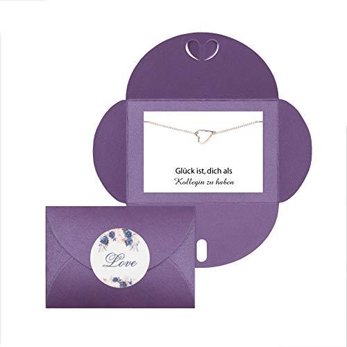Lillyville Kollegin Geschenk mit Herz Armband Rosegold und Umschlag Lila - Glück ist Dich zu haben
