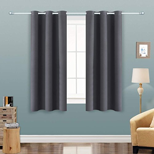 Alice Brown Solid Thermal Insulated Blackout Window Curtains/Draperies/Panels for Bedroom/Living Room/Sliding Glass Doors Top Fation Grommet (2 Panel,W42 x L63 –Inch,Gray)