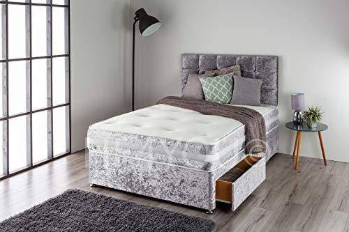 Home Furnishings UK Crushed Velvet Divan Bed Set with a 3D Bordered Orthopedic 12.5 gauge Sprung Mattress and Matching Buttoned Headboard (No Drawers) (4FT Small Double, Charcoal)