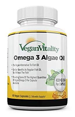Vegan Omega 3 Algae Oil from Vegan Vitality: DHA 300mg & EPA 150mg per Capsule. 60 Capsules, 2 Months Supply. Pure Plant Based Vegetarian Vitamins