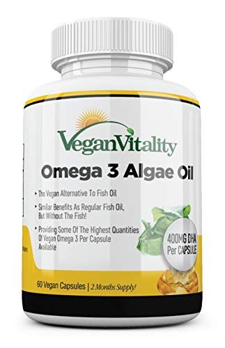 Omega 3 Vegano Aceite de algas de Vegan Vitality: 400mg de DHA por cápsula. 60 cápsulas, 2 meses de suministro. Vitaminas vegetarianas puras a base de plantas
