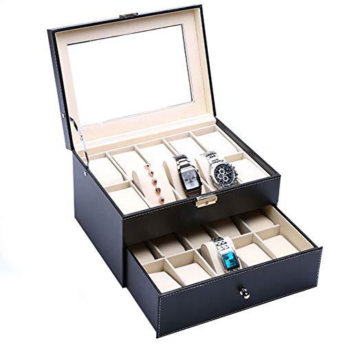 Caja para relojes doble 20 Estuches para Relojes y Joyeros Cuero de Relojes como Regalo Expositor de Relojes para Tienda para relojes de joyería, organizador para anillos y pulseras