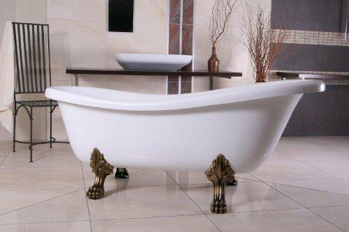 Casa Padrino Freistehende Badewanne Jugendstil Roma Weiß/Altgold 1560mm - Barock Badezimmer - Retro...