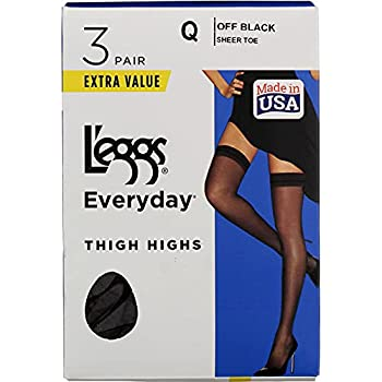 L eggs Women s Thigh High Pantyhose barely black Q