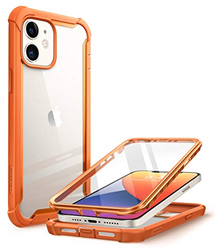 CapaCapinhaCasei-BlasonAresprojetadaparaiPhone12Mini(2020),capadeproteçãoduplaresistenteetransparentecomprotetordetelaintegrado(laranja)