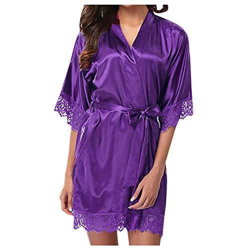 Damen Sexy Spitze Nachtwäsche Satin Pyjama Anzug Sexy Frau Pyjama Gr. Kind M,...
