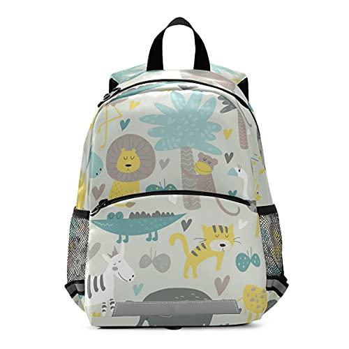 ISAOA - Mochila para niños con riendas para niños y niñas, diseño de elefante, león, tigre y león, mochila para guardería, bolsa de viaje para guardería, con clip para el pecho