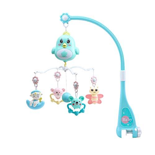TTBD Babybett Mobile Multifunktionale Musik Krippe Rassel Spieluhr Nachtlicht Neugeborene Schlafbett Rassel Spielzeug Blau Drehen