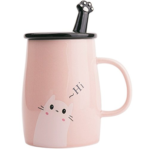 Angelice Home Pink Cute Cat Mug, Funny Ceramic Coffee Mug with Stainless Steel Spoon, Novelty Coffee Mug for Crazy Cat Lady