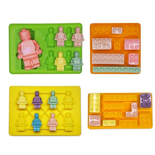 Chokxus 4pcs Building Bricks Silicone Molds Building Blocks and Robots Mold Silicone Candy Chocolate Cake Decoration Mould