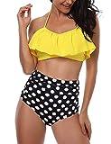 heekpek Conjunto de Bikini Mujer de Cintura Alta Traje de Baño de Dos Piezas Volantes Correas de Esp...