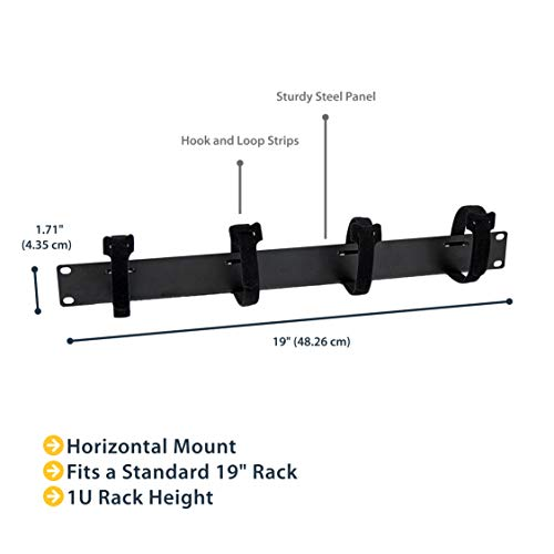 StarTech.com 1U Horizontal Cable Management - TAA Compliant - Server Rack Cable Organizer with Hook and Loop Fastener Strips (CMVELC1U), Black