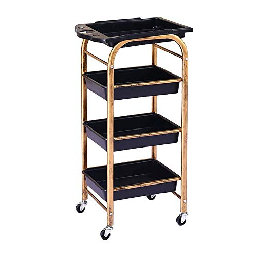 First choice Trolley On Wheels Tool 4 Tier Beauty Salons Cart with Removable Drawer, Medical Utility Cart with Wheel, Medical Rolling Trolley, 15 kg Capacity (Size : 4 Tier) plm46