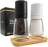 MUCOBI® Salz und Pfeffermühle 2er Set mit Ständer aus Holz - Keramikmahlwerk - Perfekt für Himalaya Salz und Pfefferkörner - Gewürzmühle Salzmühle