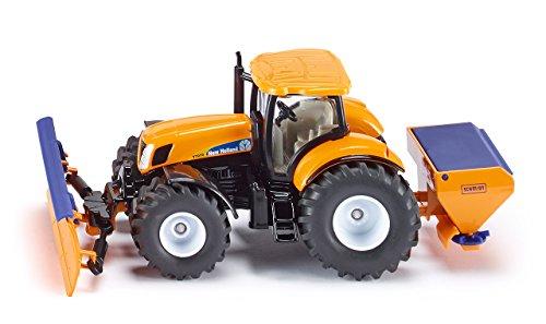 siku 2940 Tractor con pala quitanieves y esparcidor de sal, Mantenimiento de invierno, Accesorios desmontables, 1:50, Metal/Plástico, Naranja/Azul