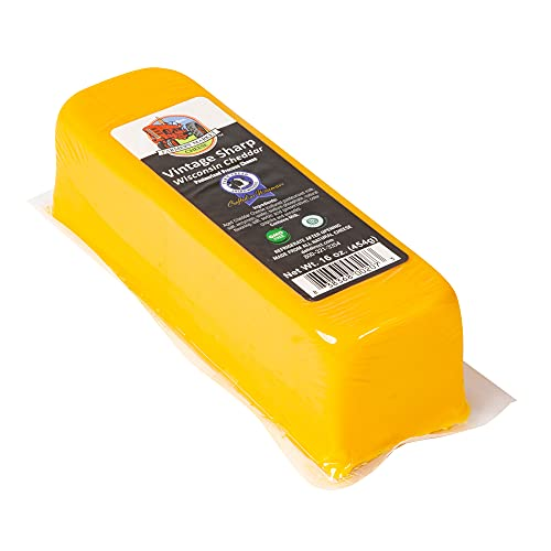 Farmers' Market Wisconsin Vintage Sharp Cheddar Cheese   The Pounder 1 Lb of Wisconsin Cheese for Shredding or Slicing