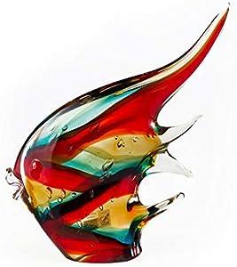 YourMurano Escultura de cristal de Murano, multicolor, pez rojo, vidrio soplado, escultura moderna, hecha a mano, 100% marca de origen garantizada, Fobos